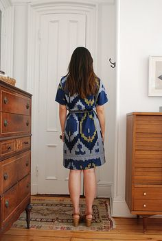 ikat print, blue ikat, ikat dress