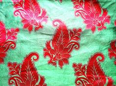 Light Green With Dark Red Paisley Design by Sitarafabricandtrims, $3.25