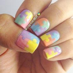 All the pieces come together for Dezzy's puzzle nails. The pastel colors are a good palette if you teach elementary school, do child care, or work with young kids, Back to School Nails, Fall Nails, Pastel, Jigsaw Nails, Puzzle Nail Designs, Nail Art, Nail It! Magazine