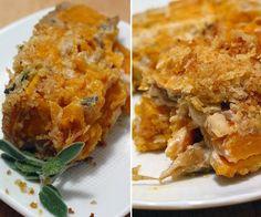 potato gratin, sweet potato, caramel onion
