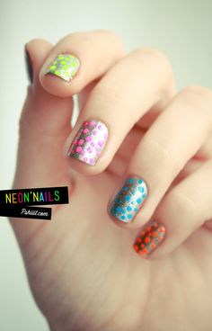 Neon Skittles Polka Dot Nails