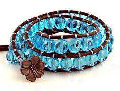 Aqua Czech Glass Wrap Bracelet #wrapbracelet