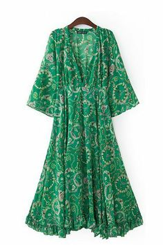 V-neck Mandarin Sleeves Chiffon Maxi Beach Dress