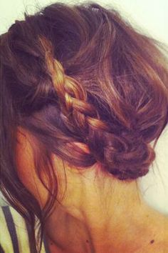 Braid and a messy updo, such a cute daytime hairstyle.