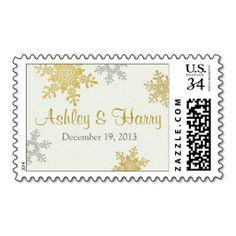 Silver Pearl Gold Snowflake Winter Wedding Postage #stamps #winterwedding #WeddingPinPals