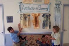 Great bulletin board idea! classroom, greek mythology lessons, art lessons, greek column, greek architectur, children, architecture for kids, greek art, architectur lesson