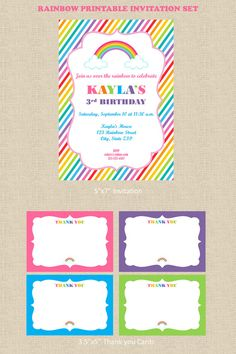 Rainbow Party Invitation and Thank you Cards