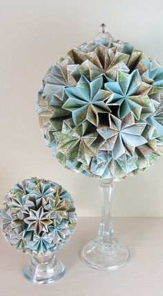 Paper Globe - Large 10 inch Origami Kusudama - Eco Decor - Recycled Map Paper.