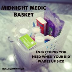 The Midnight Medic basket: Everything you need when your kid wakes up sick-  Also keep spare blankets and sheets stored under child's bed in a Tupperware bin for those late night accidents. - MilitaryAvenue.com