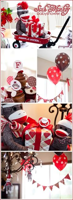 sock monkey baby shower. Perfect for a boy or girl