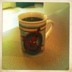 This morning I am using my son's Spider-Man mug!  Drinking Community Coffee Dark Roast.