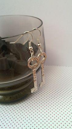 Recycled key earrings