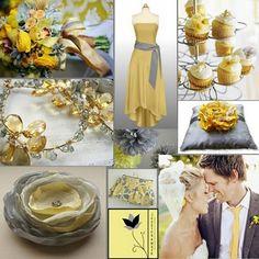 inspiration board - daffodil + gray