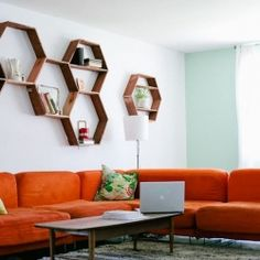 DIY your living room with these authentic honeycomb shelves (courtesty of A Beautiful Mess)