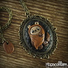 Ewok Cameo Necklace http://www.etsy.com/listing/150393908/ewok-inspired-cameo-necklace