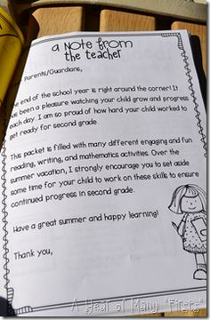 Summer Letter to Parents (explaining the importance of keeping reading, writing, and math skills sharp)!
