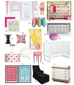 A bright, nursery mood board inspired by the look of Amanda Nisbet. #designboard #baby #nursery