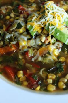 Pepper and Corn Soup with Fresh Cilantro