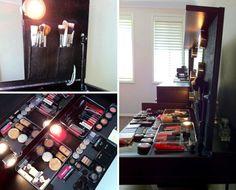 makeup station, salon idea, diy salon stations, salon decor, diy makeup