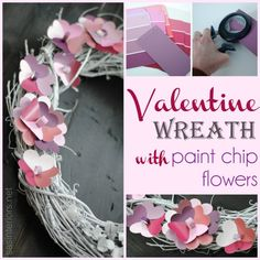 Valentine Wreath with Paint Chip Flowers