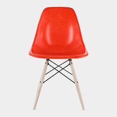 Red Eames® DFSW Molded Fiberglass Side Chairs, Charles and Ray Eames, 1950