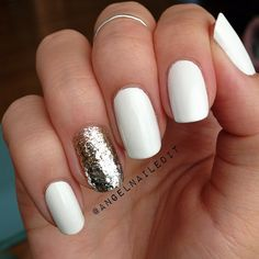 gold nails, white nails with accent nail, nails summer 2014, accent nails, nails 2014 winter, 2014 nails white, white silver nails, white nails with silver, nails 2014 summer