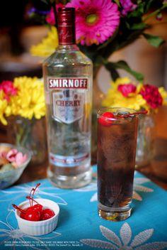 Cherry Vodka & Cola Drink Recipe: 1.5 oz SMIRNOFF® Cherry Flavored Vodka, 3 oz cola. Fill glass with ice. Add SMIRNOFF® Cherry Flavored Vodka and cola. Stir well.