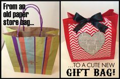 From an old paper bag to a cute gift bag old paper, gift bags, gift wrap, paper bags, gifts, store bag, papers, bag tutorials
