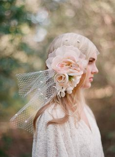 Silk flower bouquet with bandeau birdcage veil - Style # 304 - Ready t (2013, best sellers, birdcage veils, hair adornments, ready to ship, ...