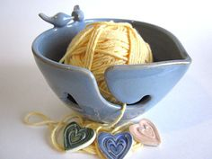 Lovebirds Heart Yarn bowl yarn holder by DarriellesClayArt on Etsy, $42.00
