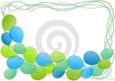 (C) Celia Ascenso - Balloons Frame Border Greeting Card. Blue and Green tones.