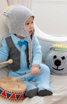 Prince Bear Pillow and Hat ~ free pattern ᛡ
