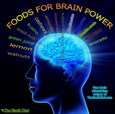 Here are some foods for BRAIN POWER! They nourish the brain with proper nutrition, increase IQ, energy, and focus.  -Walnuts -Lemon -Green Juice
