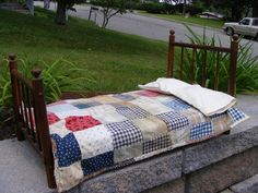 Antique Four Poster Doll Bed with Handmade Patchwork Quilt and Pillow Cases, on eBay at outback1953
