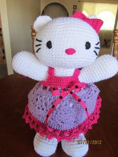 Crochet~ Hello Kitty Doll & Clothes- Free  Pattern...just adding to your Hello Kitty collection my sweet Vylette <3