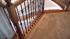 At the Stella Journey home we removed the carpet on the stairs, installing full oak treads and a new oak starter step. We then painted the risers, added new 1x8 oak caps on the balcony rails, and refinished the newel post and railing to match the wood flooring. Only then did we install our PC18/1 and PC18/2 wrought iron balusters with old world copper finish.