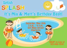 Pool party birthday invitation  swimming by TheButterflyPress, $10.00