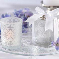 Fleur de Lis Frosted-Glass Tea Light Holder Favors
