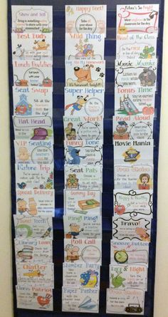 Super easy classroom management tool!  No more treasure box!  Use a pocket chart to display behavior reward cards. Easy to grab and reward when a student earns one! $$ These are from Jason's Online Classroom and they come with bonus point cards, classroom rewards punch cards AND classroom activity reward cards!  http://www.teacherspayteachers.com/Product/Classroom-Management-Bundle-Reward-Cards-Punch-Cards-Bonus-Points-Cards-667217