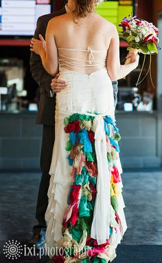 I could see making a skirt/dress like this. (If you click the link, the best part of this wedding is the location: Alamo Drafthouse Village)