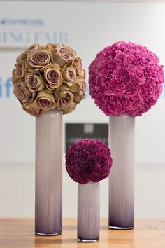 Contemporary topiary designs featuring roses, carnations & chrysanthemums created by the Jane Packer team