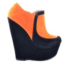 BOTINE CU PLATFORMA ORANGE BLACK