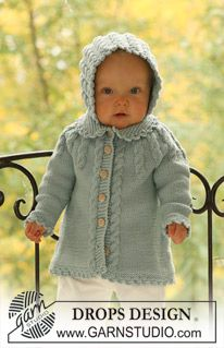 "baby knit jacket coat cardigan and bonnet in ""Merino Extra Fine"" with cables. ~ DROPS Design"