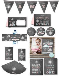 WINTER ONEDERLAND Chalkboard Printable Party Pack Invitation Cupcake toppers Water Bottle Wraps Favor Tags Sign Banner