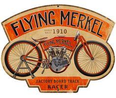 Flying Merkel Metal Sign