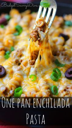 Must PIN! SUPER EASY RECIPE!!! You ONLY use ONE Pan!!!! Super easy clean up. Everyone will love these cheesy dish :) YUM! One Pan Enchilada Pasta Recipe #recipe #onepan #pasta #enchilada #beef #mexican #easyrecipe #dinner #budgetsavvydiva via budgetsavvydiva.com