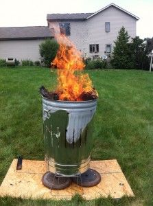 trash can firing.
