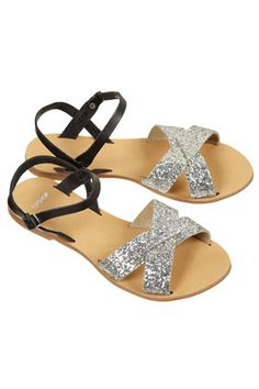 HINT CROSS-OVER GLITTER SANDALS from Top Shop