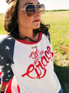 GOD SHED HIS GRACE ON THEE Star Sleeves/Red Ink  America the beautiful is right! We feel so blessed to live in this country so we decided to make a tee with some of our favorite lyrics. Perfect for all of those Fourth of July celebrations and all year round!