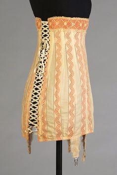 Corset: 1914, ribbon, lace, cotton. Cut from a single pattern piece. © Kent State University Museum, KSUM 1983.3.52 corset